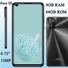 Face id 8x frente/traseira câmera global smartphones 8mp + 13mp 4g ram + 64g rom 6.72 polegada tela telefones celulares android celuares desbloqueado
