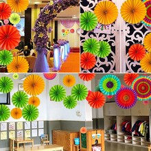 Mexican holiday party decoration supplies paper fan flower s