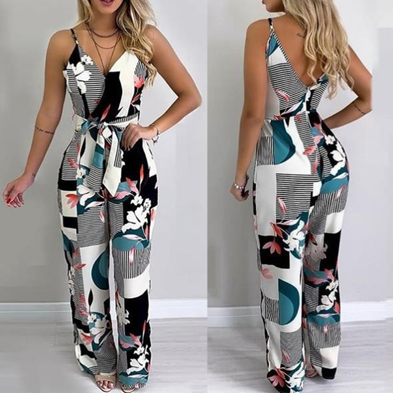 New Trendy Women clothes Summer Bodycon Party backless Flower print Jumpsuit sleeveless V-neck Jumpsuit one pieces