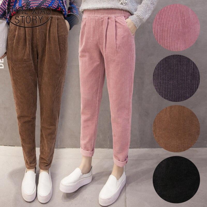 Women Pants Corduroy Pants Autumn Winter Korean Elastic Waist Pink Harem Pants Casual Black Trousers Plus Size Pants 7287 50