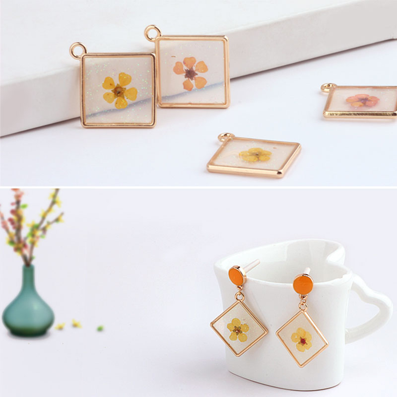 6pc Korea Sweet Flashing Dried Flowers Eternal Flower Earrings For Women Alloy Drop Oil Pendant Material Diy Jewelry Accessories(China)