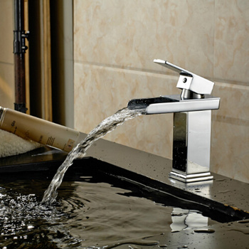 Chrome Brass Waterfall Bathroom Faucet Bathroom Basin Mixer Tap with Hot and Cold Water