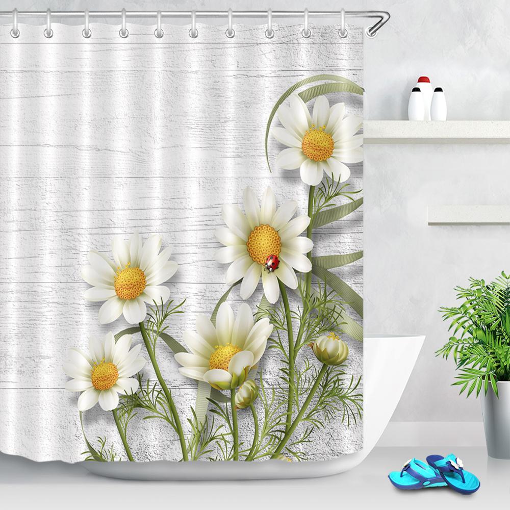 Cortinas de ducha con flores y margaritas blancas, tela con estampado de flores de tela a prueba de moho, con textura de madera, decoración para baño, cortina con ganchos