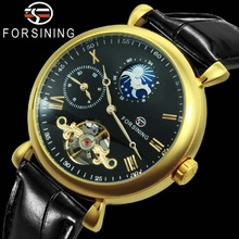 FORSINING Fashion Automatic Watch Men Sun Moon Phase Tourbillon Mechanical Watches Genuine Leather Strap Business Wristwatches forsining fashion creative automatic mechanical watch men skeleton tonneau dial leather strap unique casual watches dropshipping