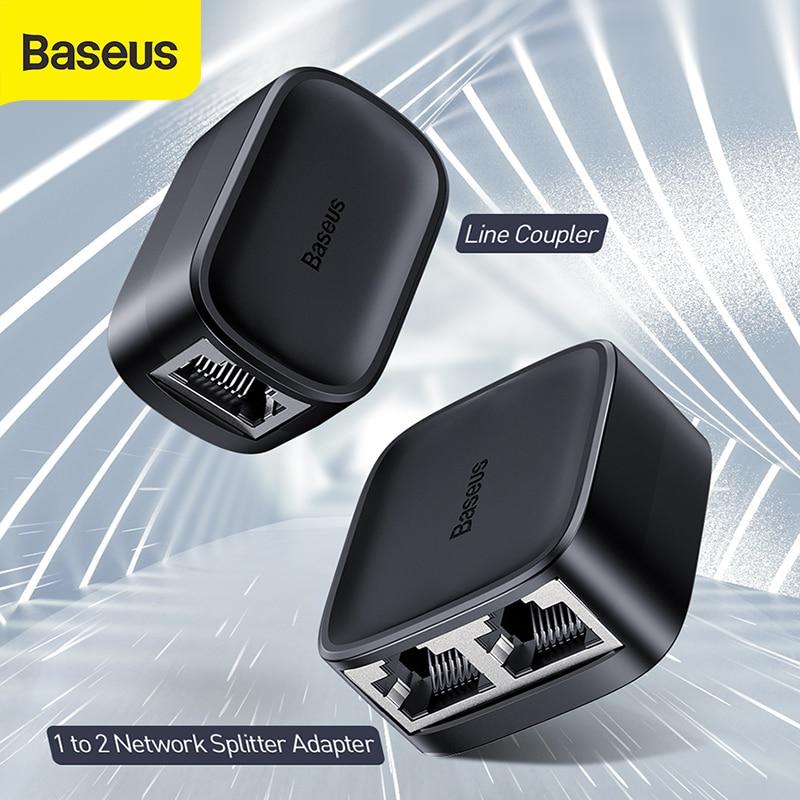 Baseus High Speed 1 To 2 Network Splitter Adapter Line Coupler RJ45 100M Stable Transmission Fast Speed Splitter Network Adapter