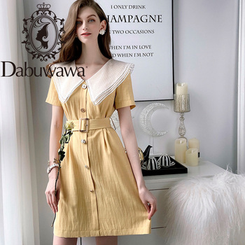 Dabuwawa Vintage Single Breasted A-Line Dress Women Turn Down Collar Slashes High Waist Solid Dress Office Lady DT1BDR082 dabuwawa single breasted solid pocket patched skirts women high waist office ladies casual slim fit a line skirt d18bsk005