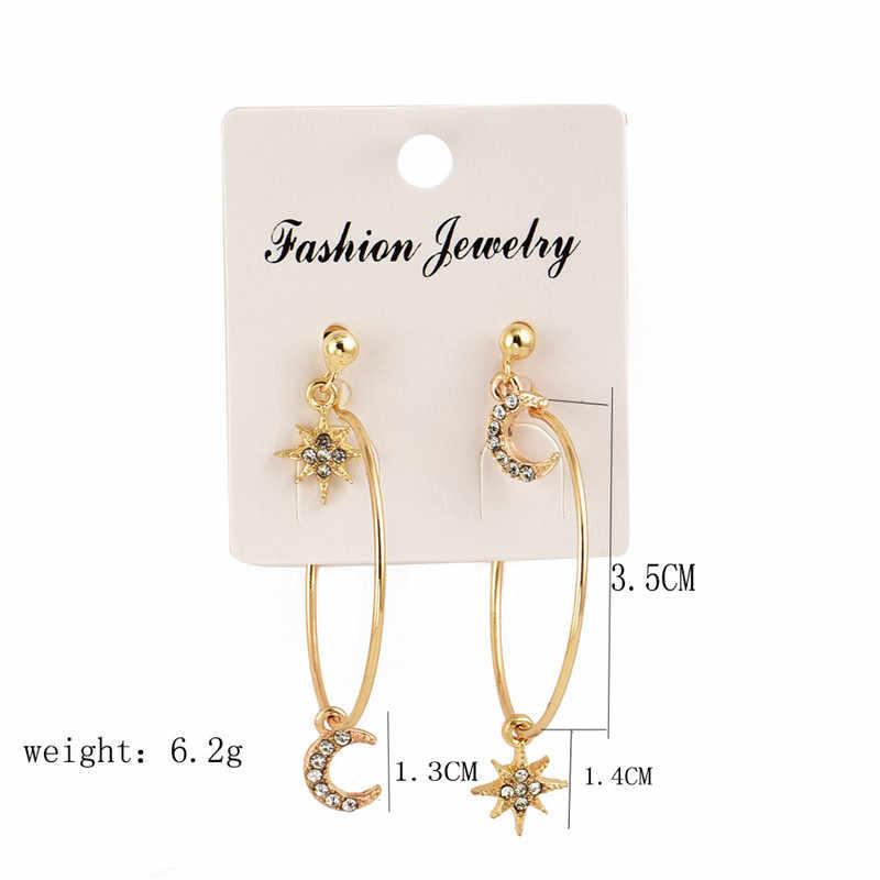 Urok kryształ Moon Star stadniny kolczyki złota biżuteria dla kobiet kobiece geometryczne wiszące duże okrągłe kolczyki Oorbellen zestaw