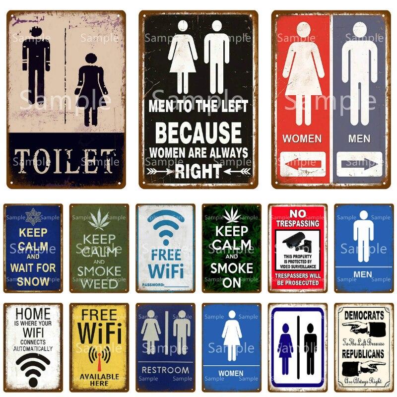 Металлическая табличка для туалета для женщин и мужчин, Жестяная Табличка для туалета, Настенный декор для мужчин, пещера, отель, паб, бар, же...