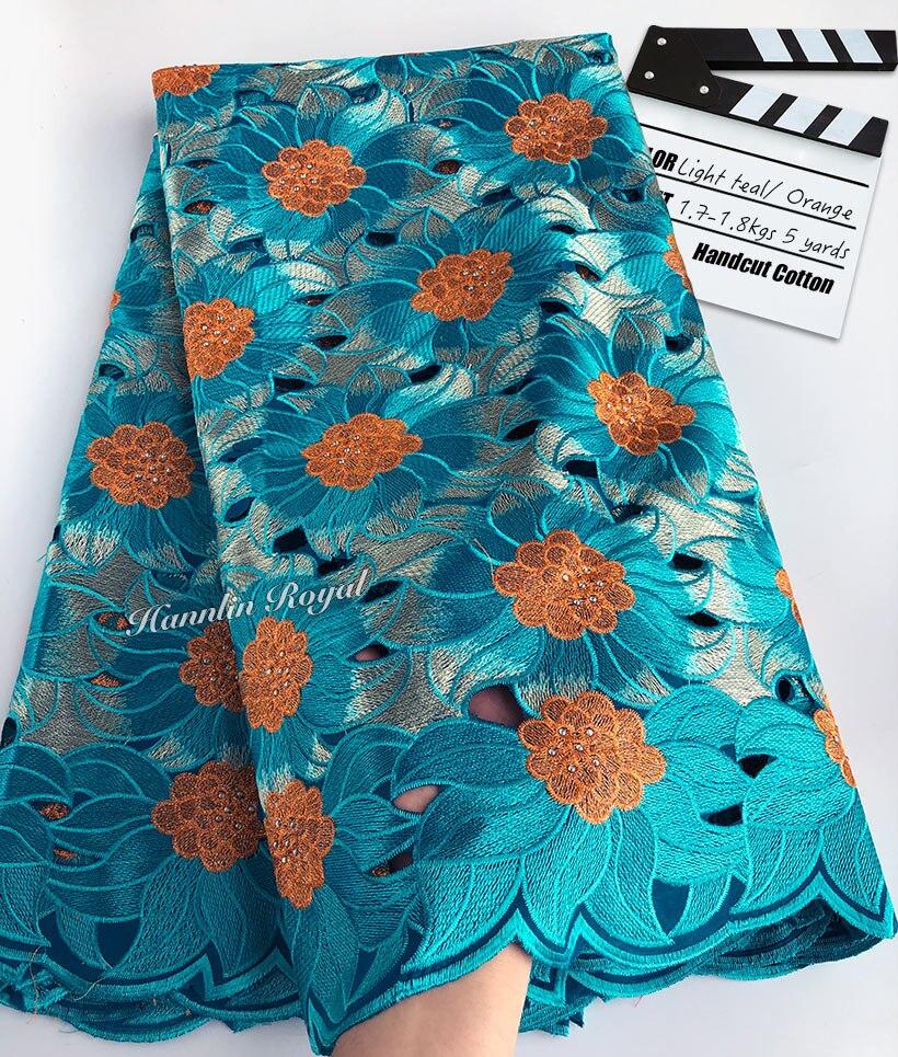 Ev ve Bahçe'ten Dantel'de 5 metre ağır handcut dantel pamuk delikli afrika İsviçre kumaşı dantel kumaş taşlar ile güzel Nijeryalı dikiş elbise'da  Grup 1