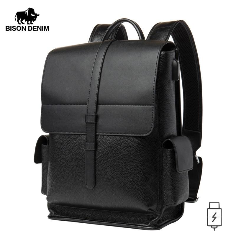 BISON DENIM Genuine Leather 14 Inches Backpack Men's Travel Bag Waterproof Daypack USB Charging School Backpack N2645