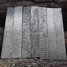 5 видов, дамасская сталь, сделай сам, нож, материал для изготовления, роза, сэндвич, узор, стальное лезвие ножа, заготовка, была термической обработкой