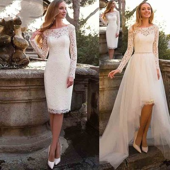 2019 Short Wedding Dress Long Sleeves 2019 Boho Lace Bride Dress Detachable Train Wedding Gowns Buy At The Price Of 85 49 In Aliexpress Com Imall Com,Dress For Summer Wedding Guest