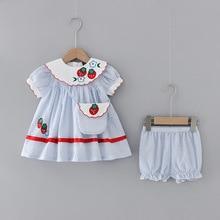 Baby girls Strawberry Striped Princess Dress + Shorts+bag  sets Summer Hipster Girl's Dress Cute 2pcs suit kids