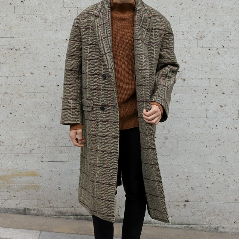 Winter Thick Woolen Coat Men Fashion Retro Overcoat Casual Tartan Windbreaker Man Street Wild Loose Long Woolen Jacket Men