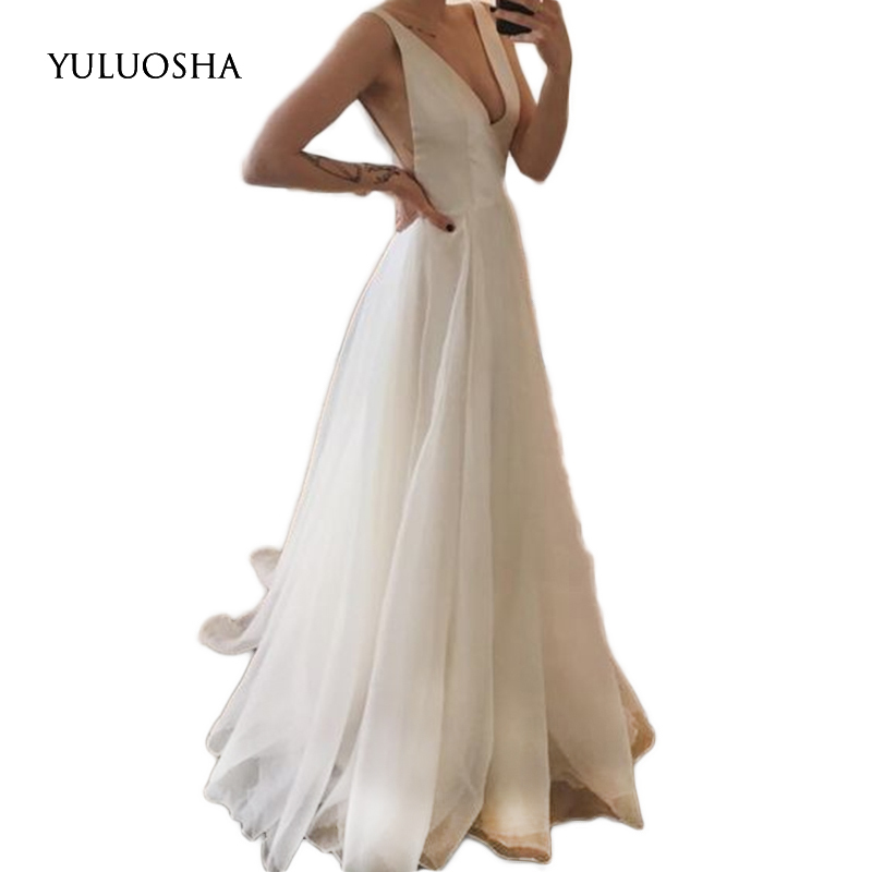 YULUOSHA Long Dress Evening 2020 Sexy V-Neck Sleeveless Backless Evening Prom Party Formal Gown Slim White Dress Robe De Soiree
