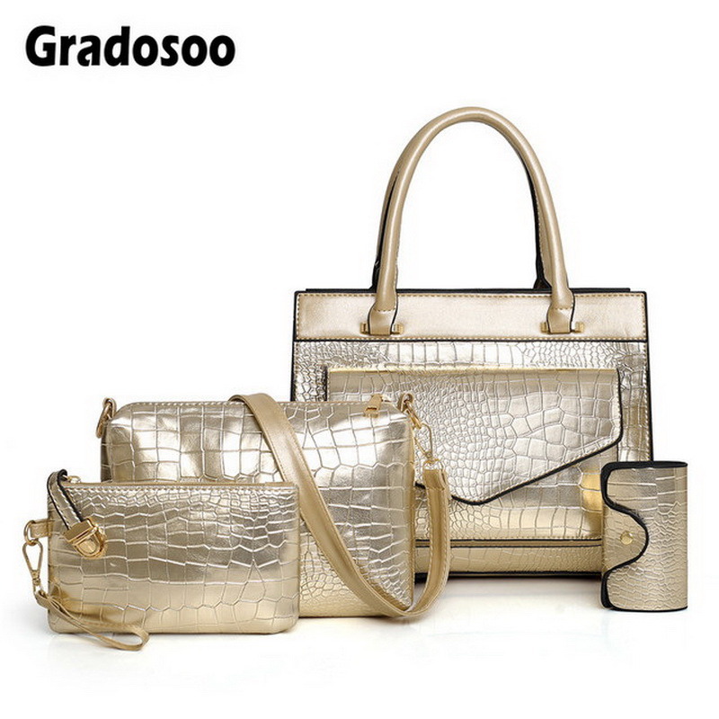 Gradosoo 4Sets Crocodile Tote Bags For Women Purses and Handbag Female Luxury Leather Bag Shoulder Brand Design HMB640
