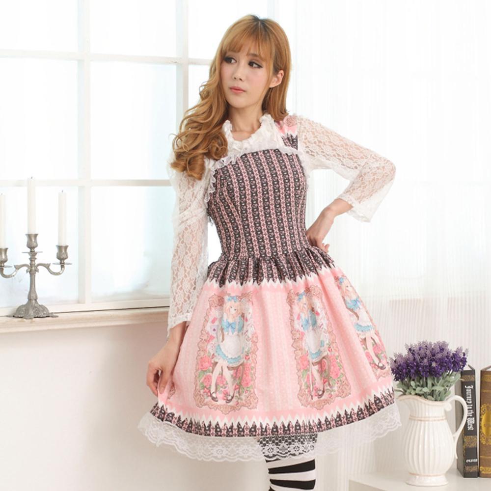 Princesse douce lolita robe princesse douce soeur robe taille et bandage slim lolita robe avec dentelle femmes GZWY111