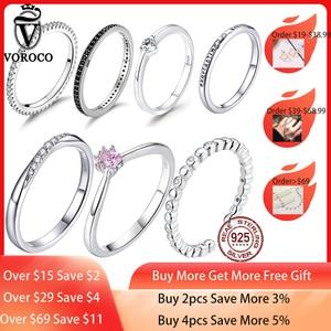 Image 1 - [[Kup 4 sztuk zapisz więcej 5%]]VOROCO prawdziwe 925 srebro proste obrączka brokat wyczyść kryształowa biżuteria CZ BKR066