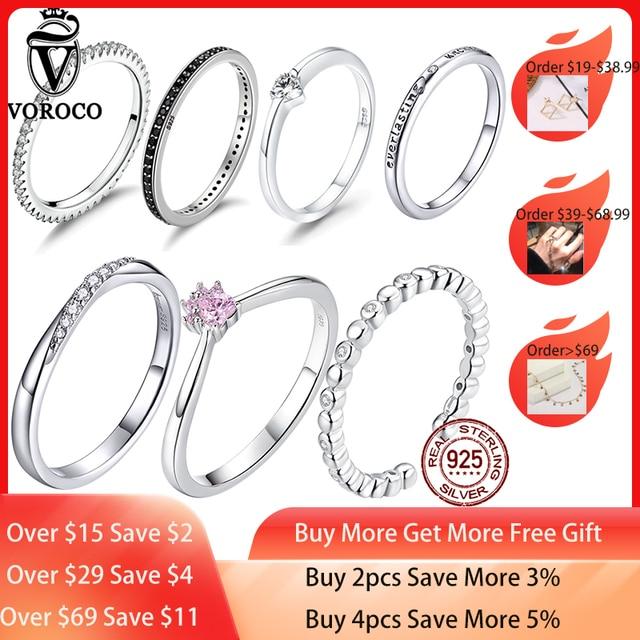 [[Kup 4 sztuk zapisz więcej 5%]]VOROCO prawdziwe 925 srebro proste obrączka brokat wyczyść kryształowa biżuteria CZ BKR066