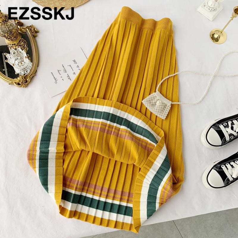 Image 5 - 2019 autumn winter elastic waist pleated sweater skirt women hit color strip knit skirt female casual new thick skirt-in Skirts from Women's Clothing