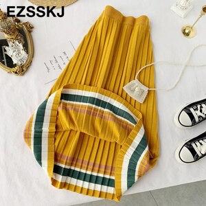 Image 5 - Jupe plissée pour femmes, taille élastique, nouvelle collection 2019, automne hiver, collection décontracté
