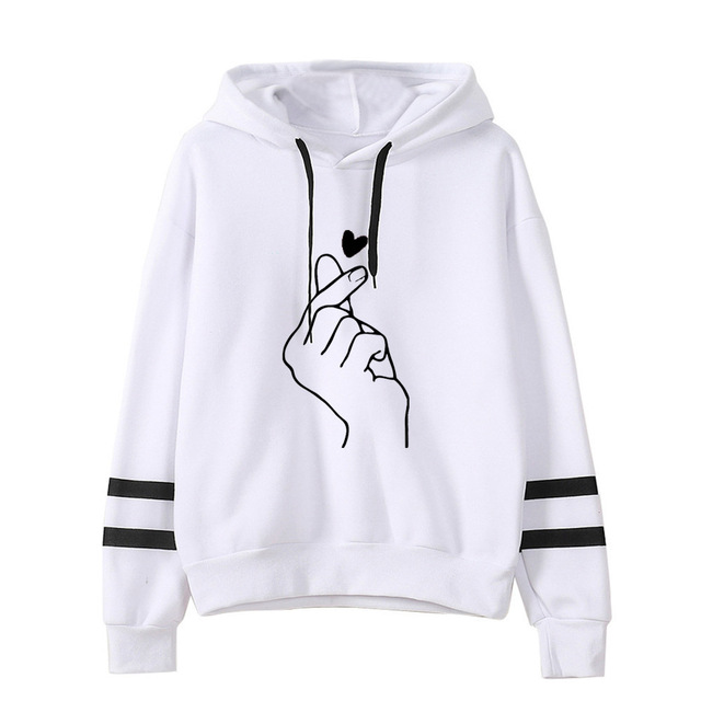 FINGER HEART STRIPED HOODIE (4 VARIAN)
