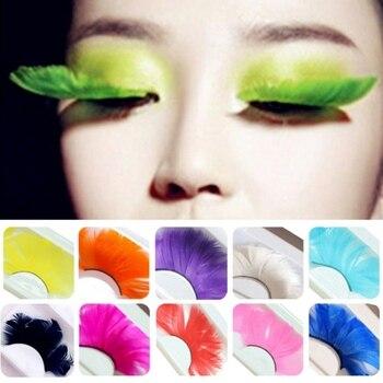 1 Pair Fake Eyelashes Colorful Feather 3D Natural Long Exaggeration Eyelashes Maquiagem Stage False Eye Lashes Party Face Makeup