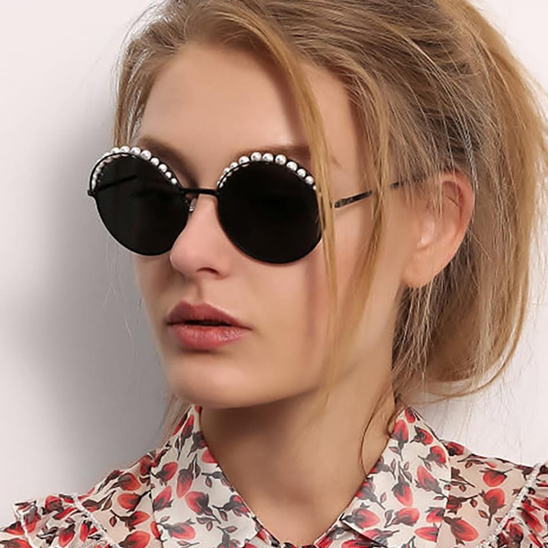 QPeClou Vintage Round Sunglasses Women 2019 Luxury Brand Designer Pearls Sun Glasses Female Mirror Eyeglasses Oculos Gafas