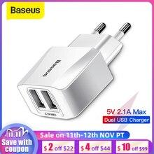 Baseus Dual USB Charger EU Plug 2.1A Max Fast Charging Portable Phone Charger Mini Wall Adapter Charger