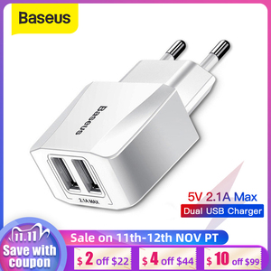Image 1 - Baseus Dual USB Charger EU Plug 2.1A Max Fast Charging Portable Phone Charger Mini Wall Adapter Charger
