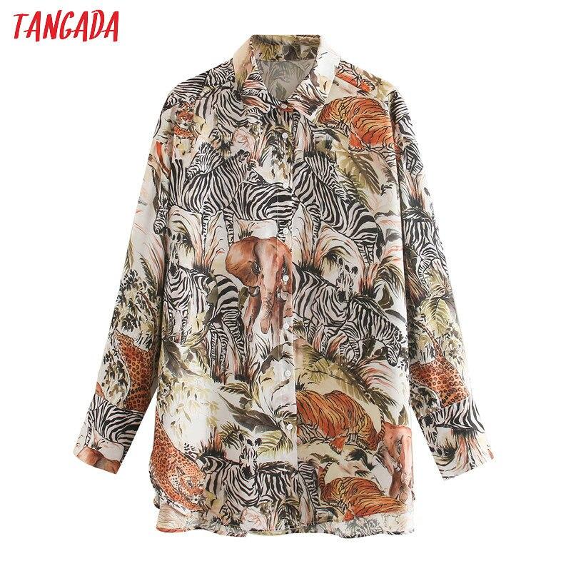 Tangada Women Retro Oversized Animal Print Shirts Blouse Long Sleeve Chic Female Loose Shirt Blusas XN330