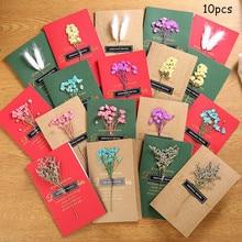 10pcs Folding Greeting Card Paper Flower Handmade Bronzing Message Birthday