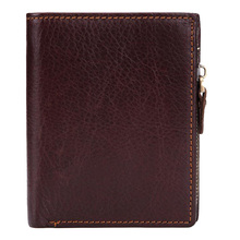 все цены на Western Genuine Leather Detachable Coffee Men Wallet Vintage Cow Leather Zipper Men Coin Purse онлайн
