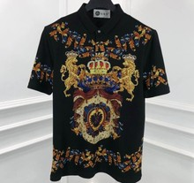 2020 spring 20ss new fashion famous crown lion royal diamonds floral print embroidery brand clothing tee t shirt(China)