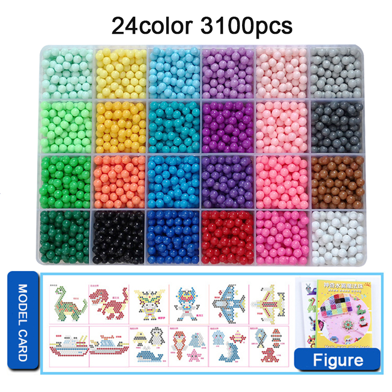 Yantjouet Water Magic Sticky Beads 24color/set 3100pcs With Accessary Toys For Children Education Brain Aqua Girls Boys