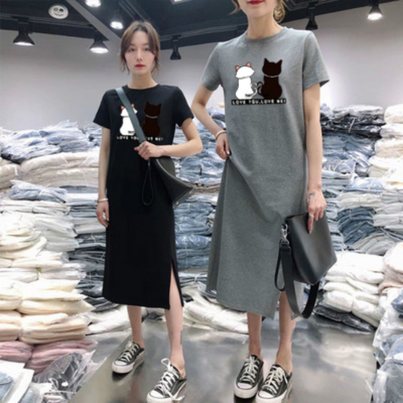 Summer Cats <font><b>Graphics</b></font> <font><b>Dress</b></font> Women Kawaii <font><b>Tshirt</b></font> <font><b>dress</b></font> Short Sleeve Casual Bottoming Midi <font><b>Dresses</b></font> Simple Korean clothes Nightdress image