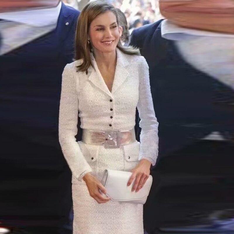 Princess Kate Middleton White Spring And Autumn High Quality Women'S Party Party Retro Elegant Woolen Medium Long Women'S Wear