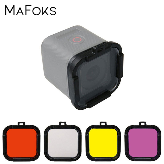 Waterproof Dive Filter 4 Color Diving Filter Red Purple Yellow Gray Lens Cap Lens Protector for Gopro Hero 4 Session 5 Session