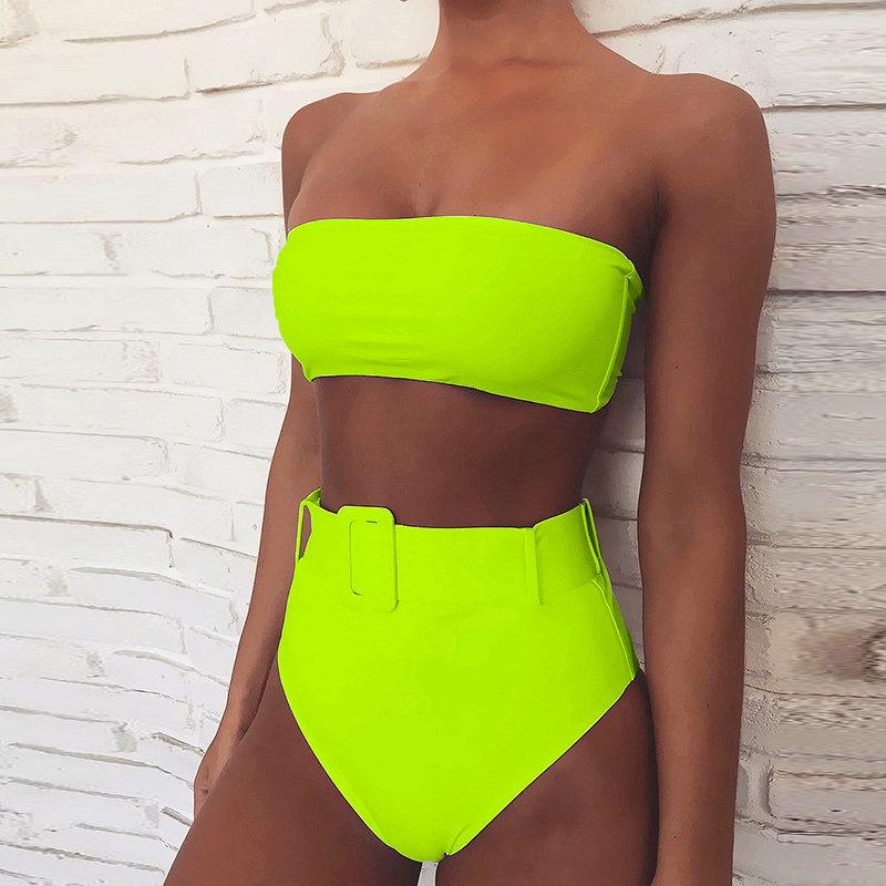 High Waist Bikinis 2019 Women Swimsuit Female Bandeau Swimwear Sexy Neon Thong Bikini Set Beachwear Bathing Suit Women