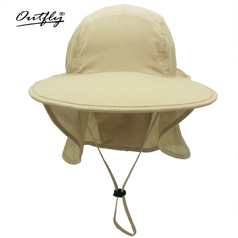 Солнцезащитная шляпа Outfly с широкими полями для мужчин и женщин, мужская летняя быстросохнущая Панама из полиэстера для горной рыбалки, шапк...
