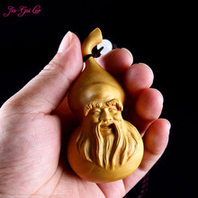JIA-GUI LUO Boxwood sculpture gourd pendant carving decorative crafts birthday gifts  Car pendant A033