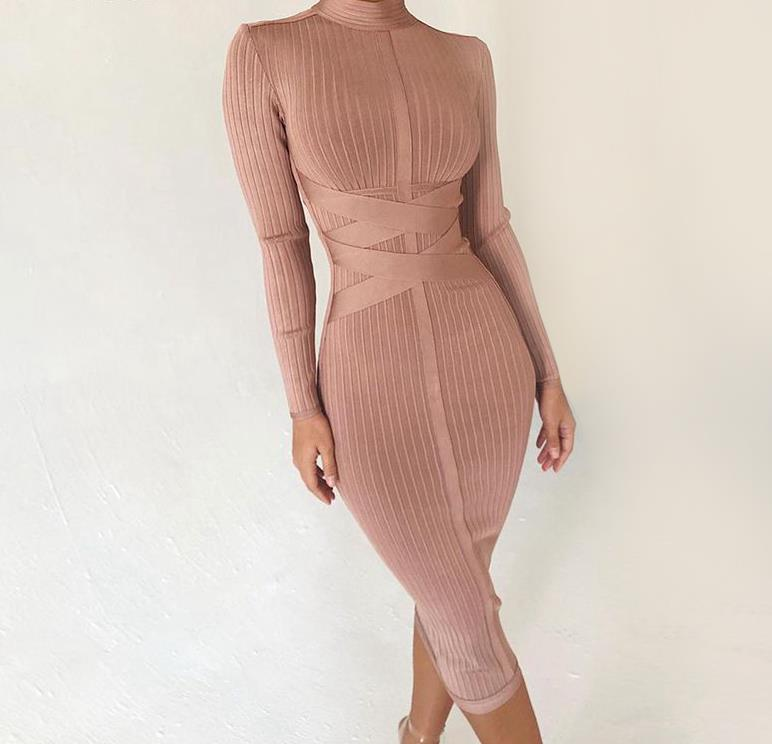 Bodycon Dress 2020 Nude Turtleneck Rayon Long Sleeve Bandage Dress High Quality Ribbed Womens Midi Bandage Dress Sexy
