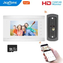 Jeatone wi fi tuya 7 ''белый видеодомофон с 720p/ahd