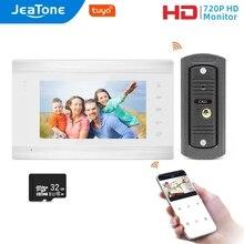 Jeatone WiFi Tuya 7''White Video Door Phone Intercom System with 720P/AHD Wired Doorbell
