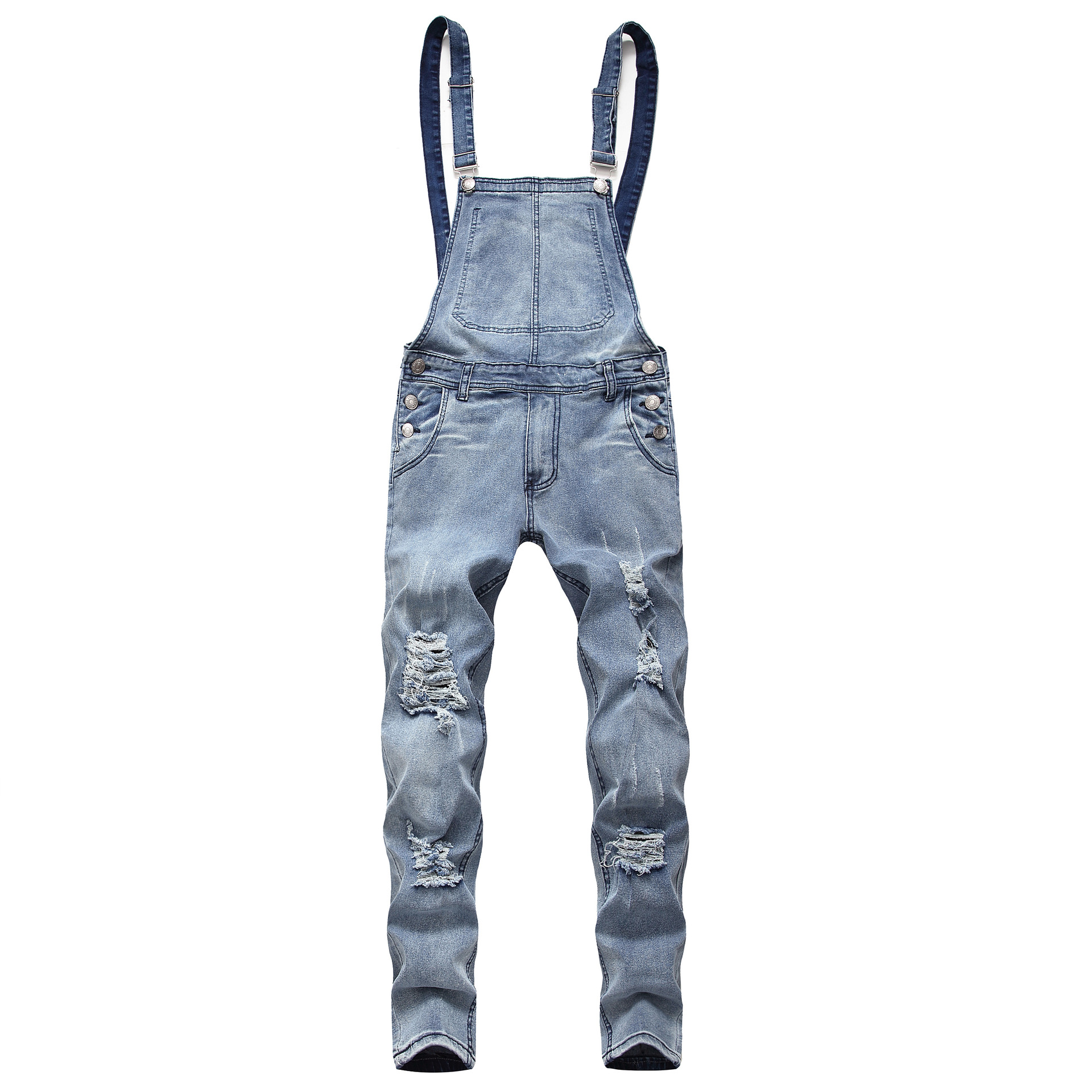 4 Colors Overalls For Men Casual Hole Distressed Denim Wash Jeans Overall