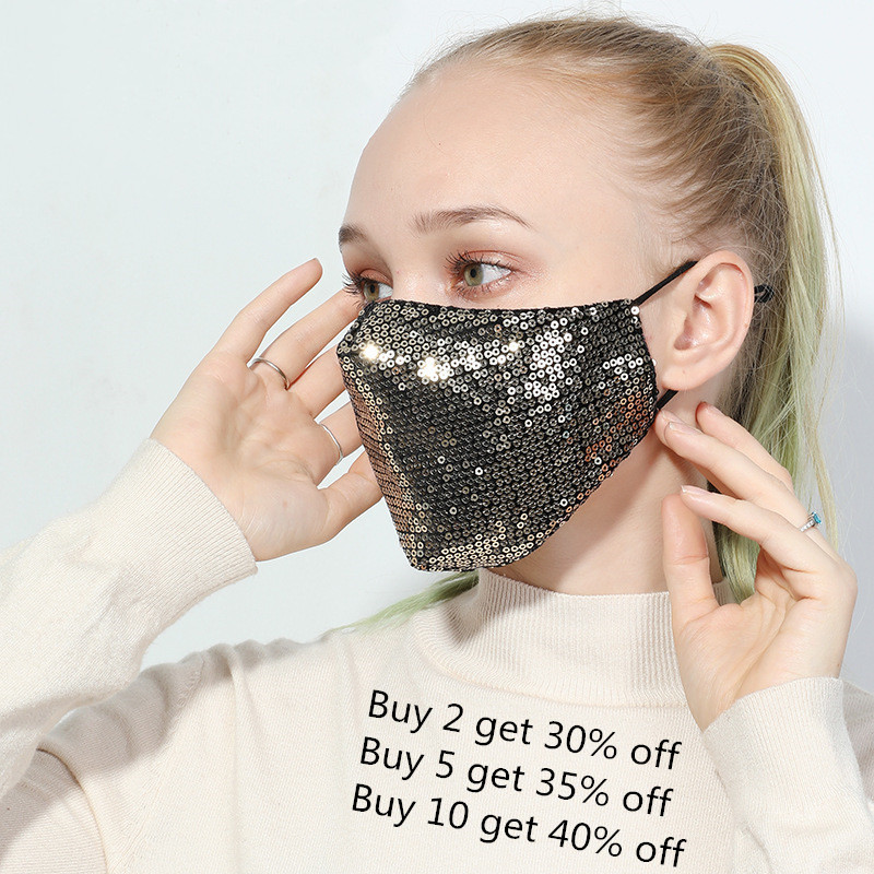 Sequin Face Shield Gold Black Cotton Fashion Cover  Glitter Sexy Anti-haze Party Unisex Shining Kpop Anti Dust Face Scarf