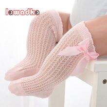 Lawadka-chaussettes pour bébés et filles, en coton, à nœud, à mailles d'été, antidérapantes, longues, pour bébés et garçons, 0-2T