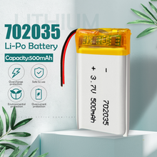Bateria recarregável do li-po do polímero do lítio de 3.7v 500mah 702035 para o orador mp5 de bluetooth gps dvd pda pda conduziu a pilha clara do li-íon