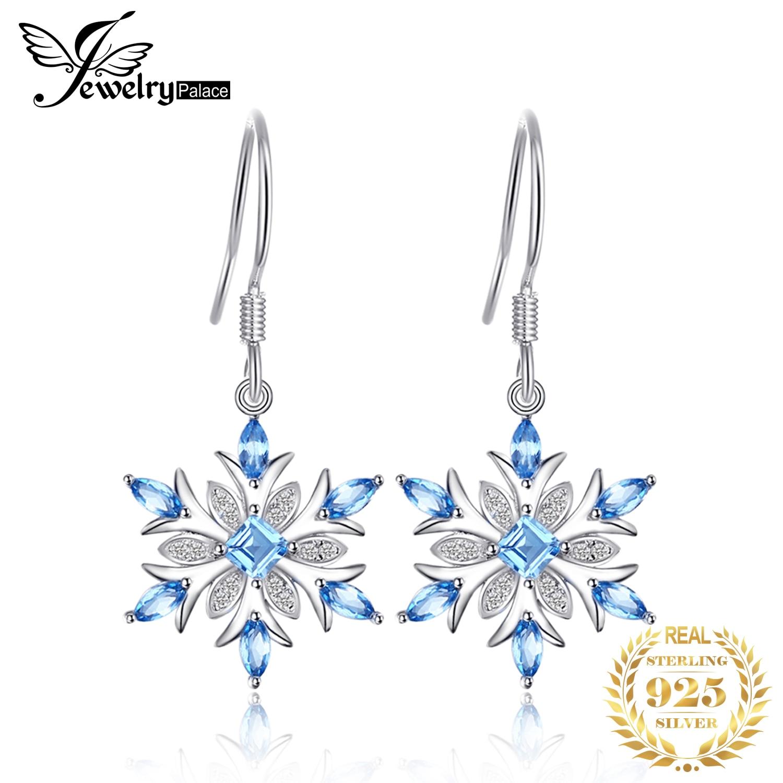 JewelryPalace Snowflake 1.4ct Genuine Swiss Blue Topaz Dangle Earrings 925 Sterling Silver Earring for Women Fashion Jewelry
