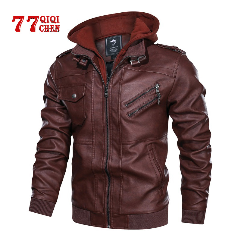 Leather Jacket Mens Oblique Zipper Casual Motorcycle Removable Hood Coat Winter Fleece Pu Baseball Leather Jackets Male Size 5XL